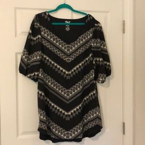 Black and gray tribal chevron swing dress.